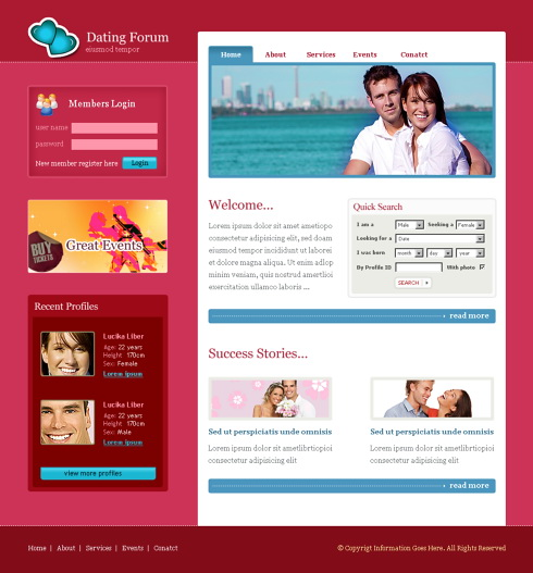 dating forum html template 5723 love dating website templates dreamtemplate. Black Bedroom Furniture Sets. Home Design Ideas