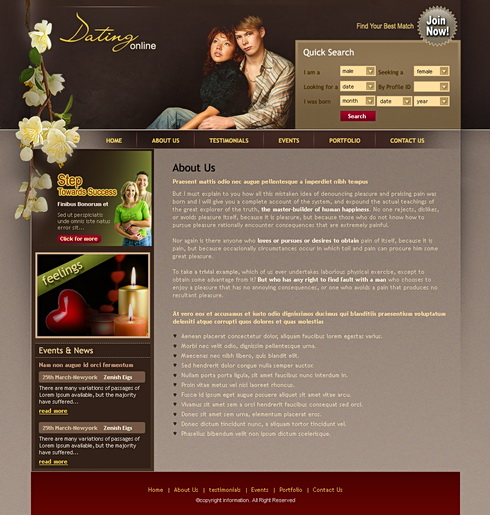from Tyson html css dating template