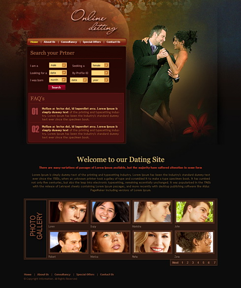 online dating web template