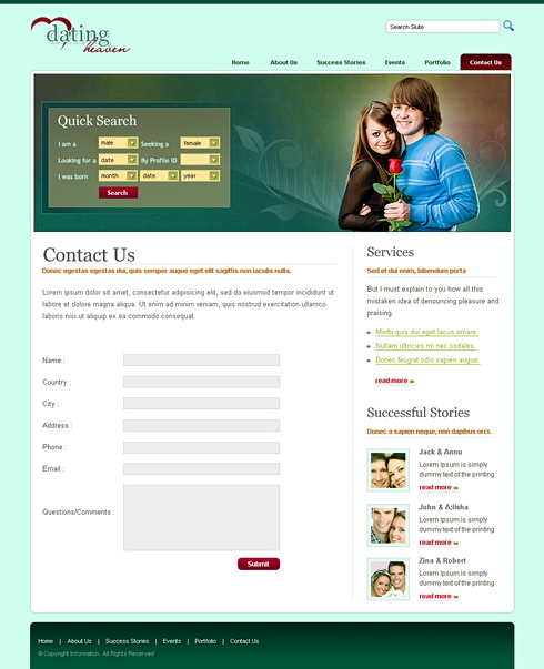 Dating site design template