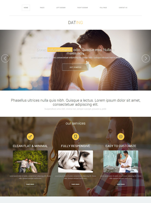 Responsive dating site template
