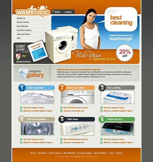 Washing machine website template 2414 electronics gadgets main preview image accmission Images