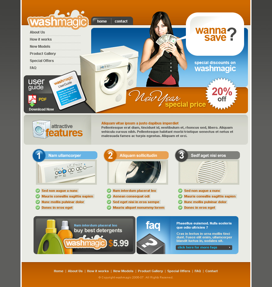 Washing machine website template 2414 electronics An website
