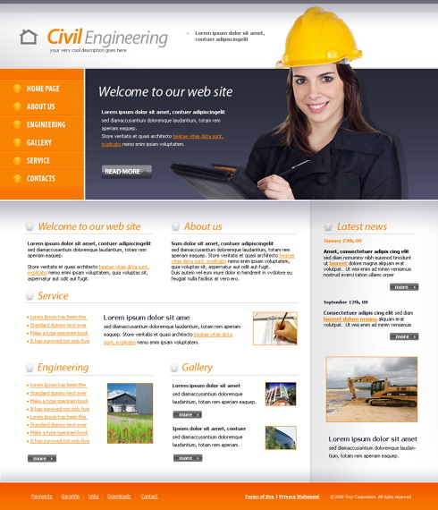 Civil Engineering Website Template - 4342 - Construction ...