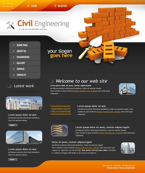 Road works web template 4343 construction for Home building websites