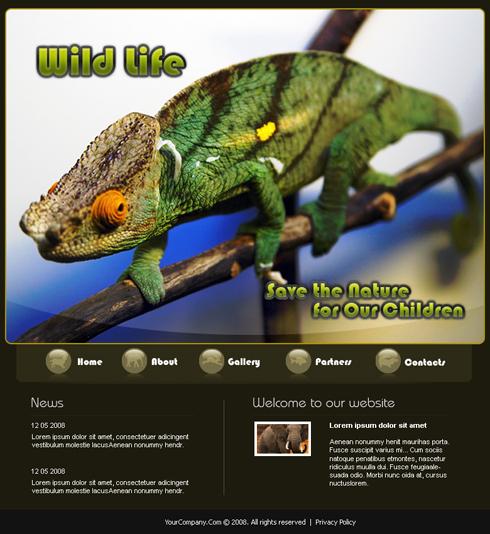 Wild Chameleon Web Template - 3489 - Animals & Pets - Website ...