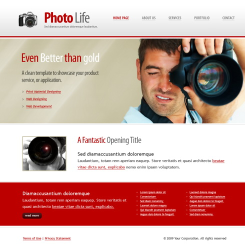 Photo Life Web Template - 5950 - Art & Photography - Website ...