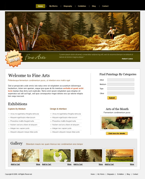 fine arts webpage template - 6198 - art  u0026 photography - website templates
