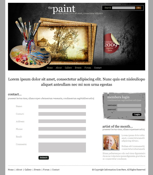 Paint Frame Webpage Template - 6216 - Art & Photography - Website ...
