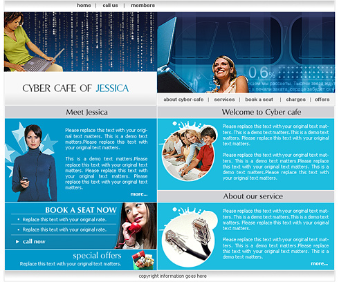 cyber cafe web template 0430 communications website templates