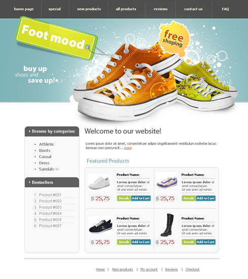 Foot wear html template 3608 beauty fashion for Html product page template free