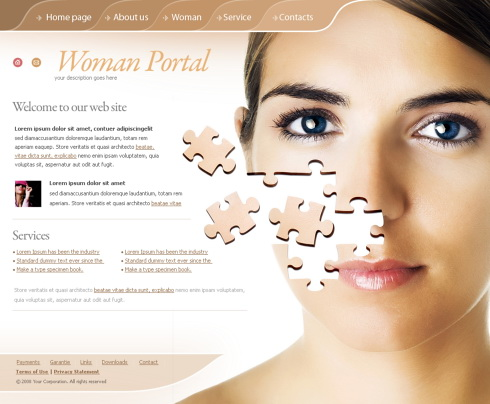 Face Puzzle CSS Template - 4269 - Beauty & Fashion - Website ...